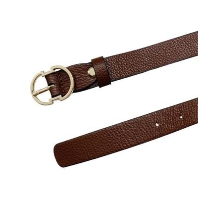 COCCINELLE - Cintura Double C in pelle - Moka