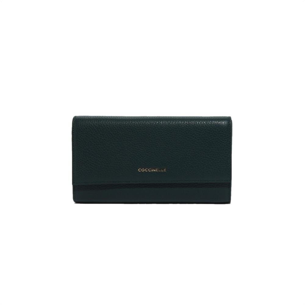 COCCINELLE - Metallic Soft Portafoglio Maxi - Mallard Green