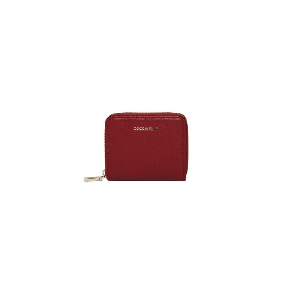 COCCINELLE - Metallic Soft Portafoglio piccolo Zip Around - Foliage Red