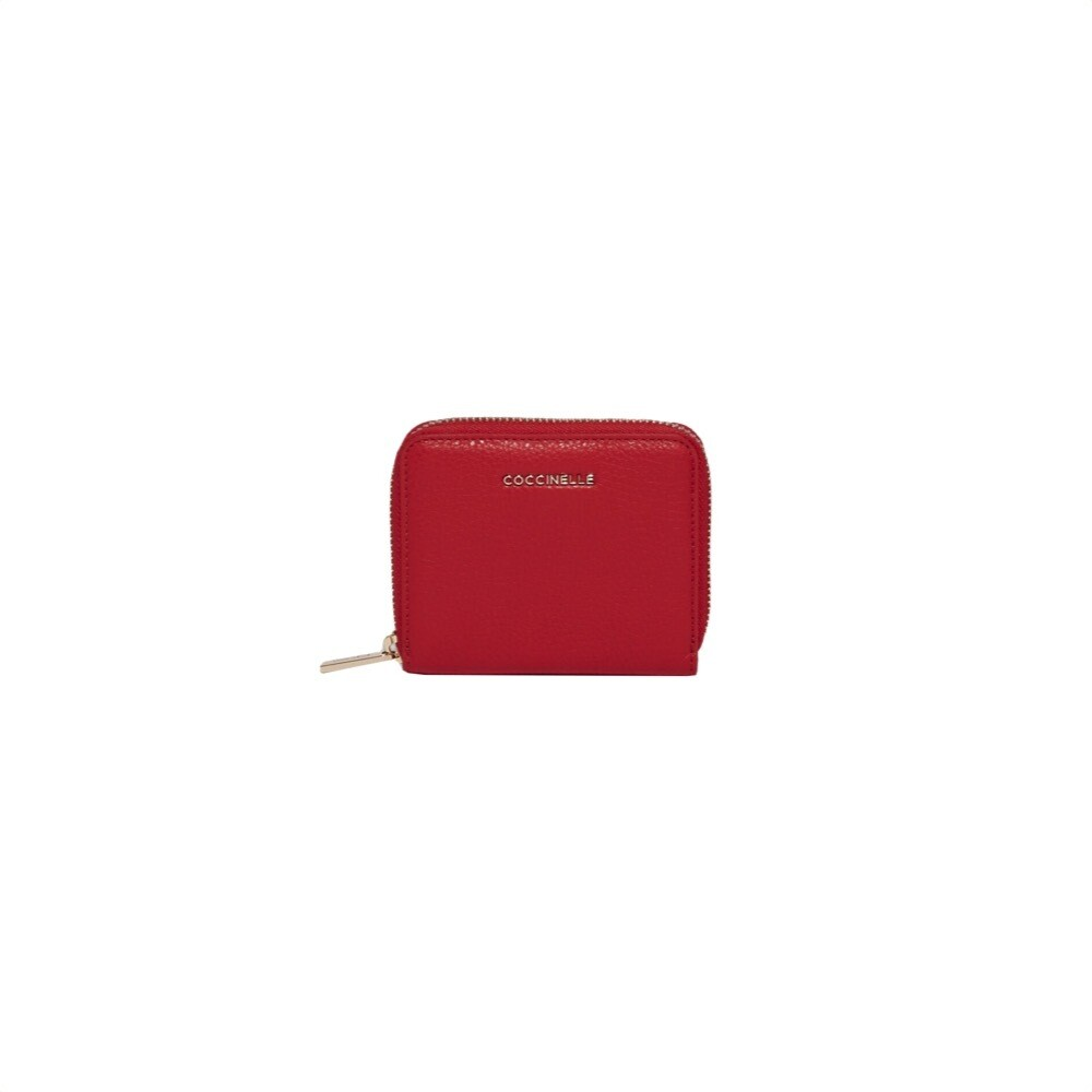 COCCINELLE - Metallic Soft Portafoglio piccolo Zip Around - Cherry