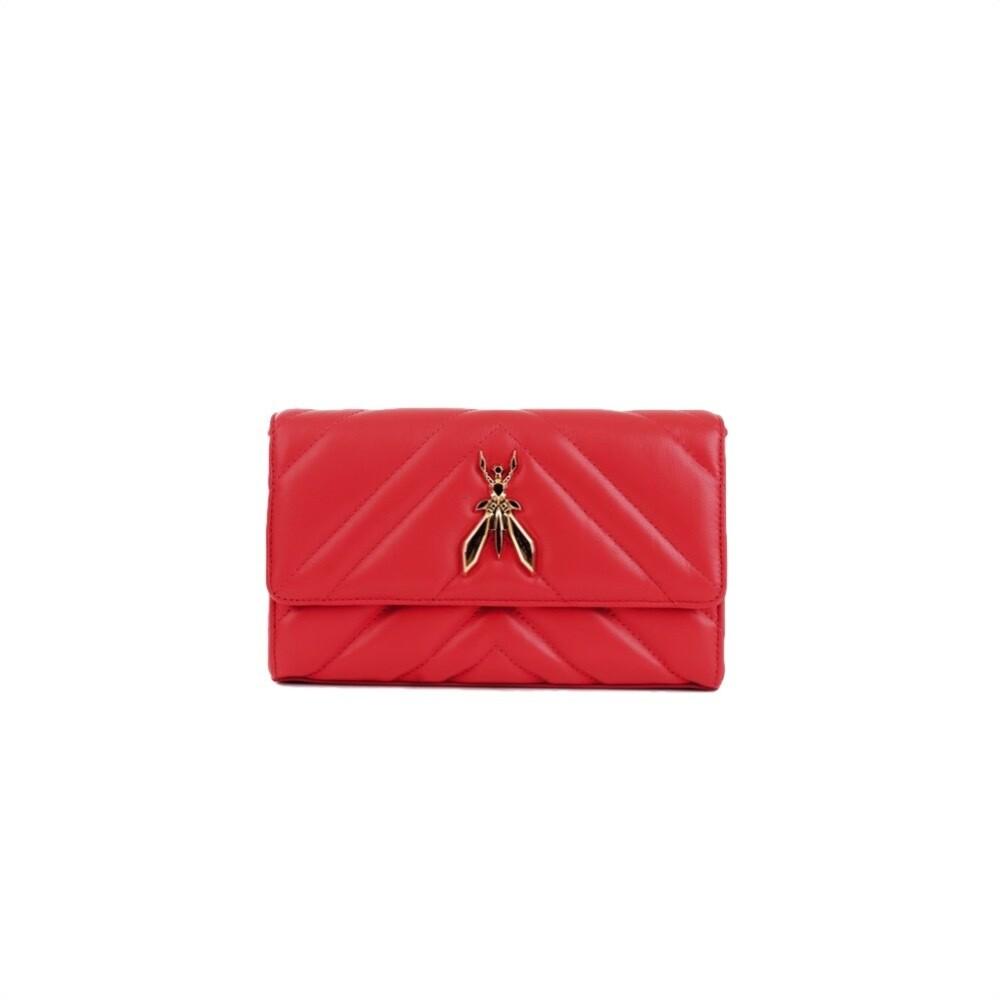 PATRIZIA PEPE - Pochette in pelle matelasse con maxi logo Fly - Lipstick Red