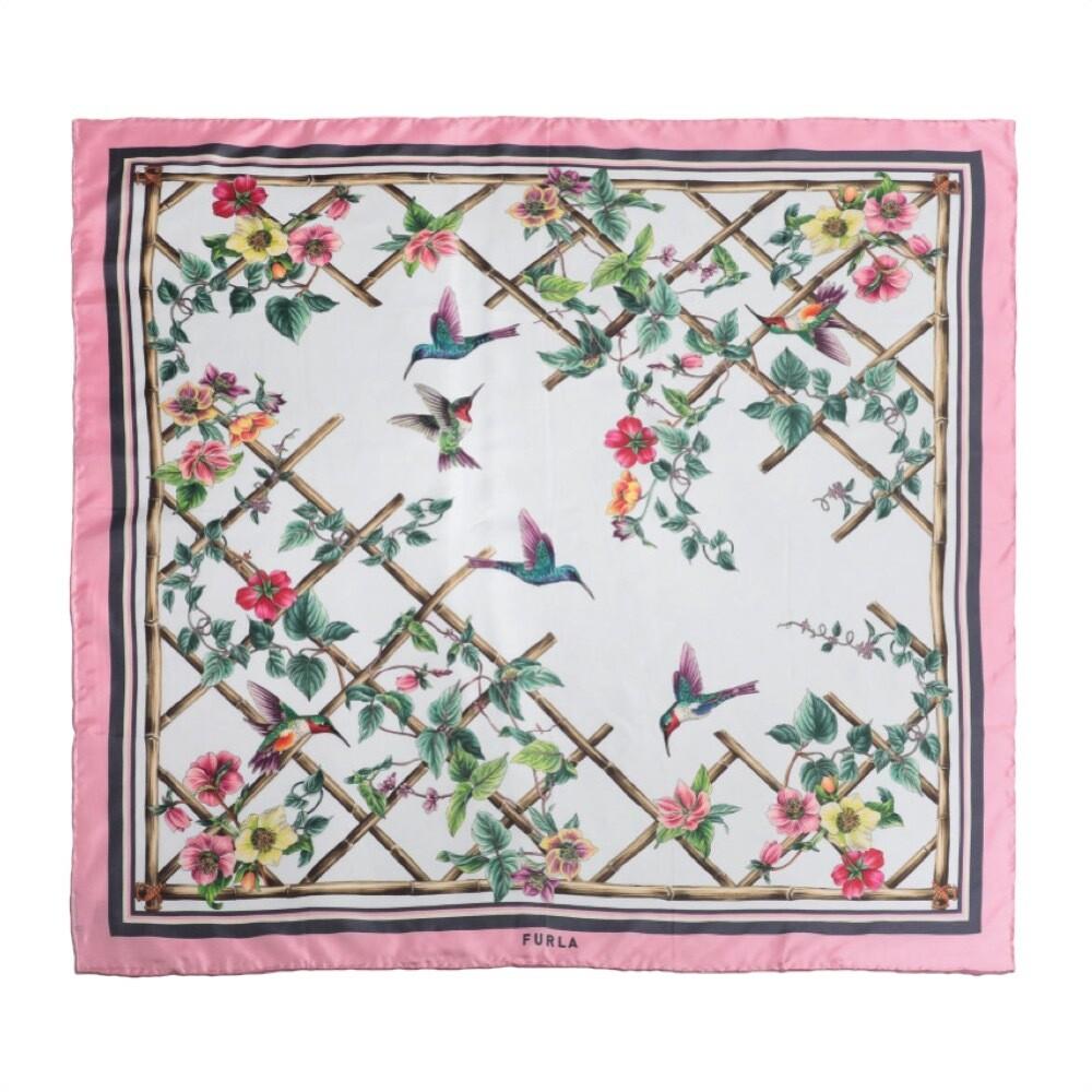 FURLA - Foulard Tortona Carrè fiori 90x90 - Talco/Candy Rose