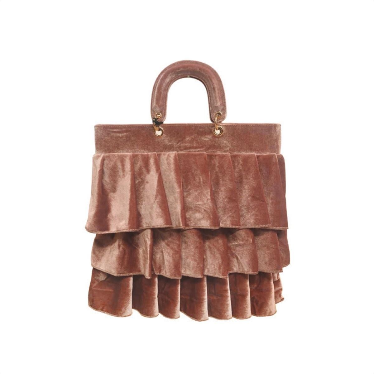 MIA BAG - Shopping Velluto Balze Personalizzabile - Cipria
