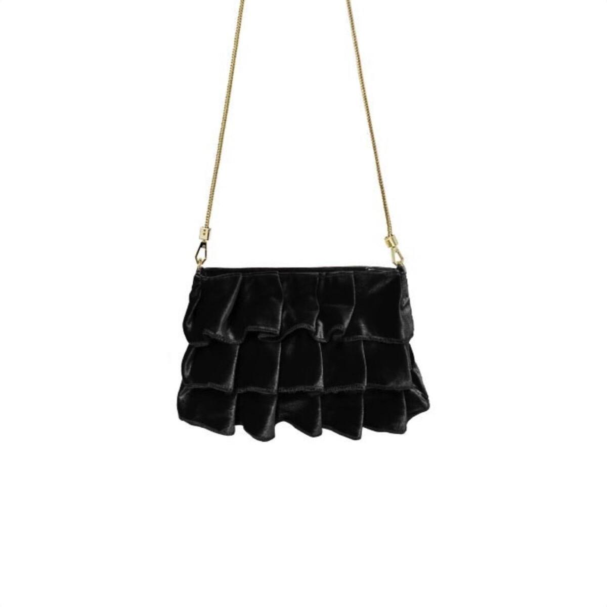 MIA BAG - Pochette Velluto Balze Personalizzabile - Nero