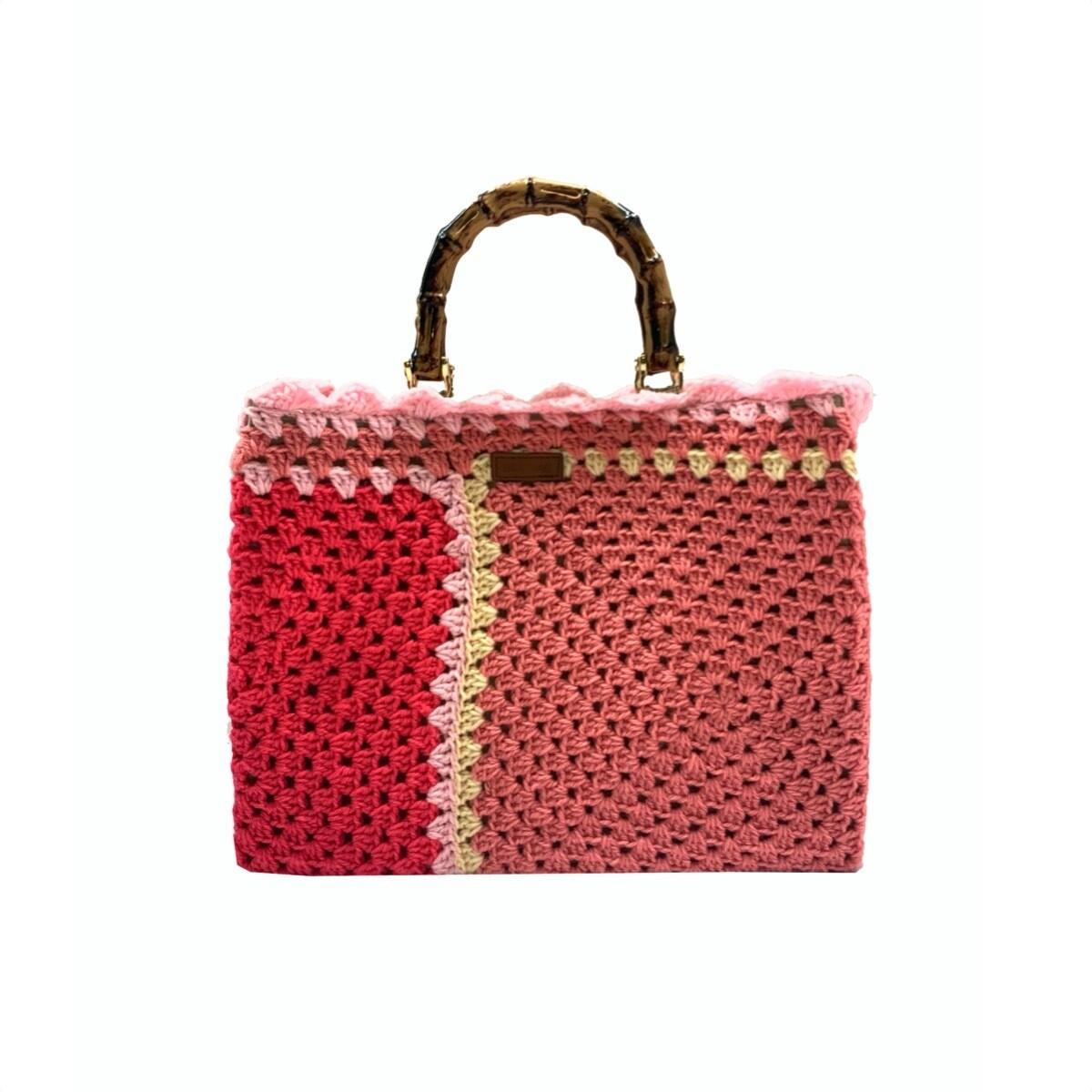 MIA BAG - Tote Bamboo Crochet - Multicolor Rosa
