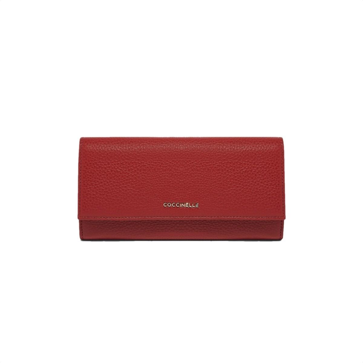 COCCINELLE - Metallic Soft Portafoglio Grande - Foliage Red