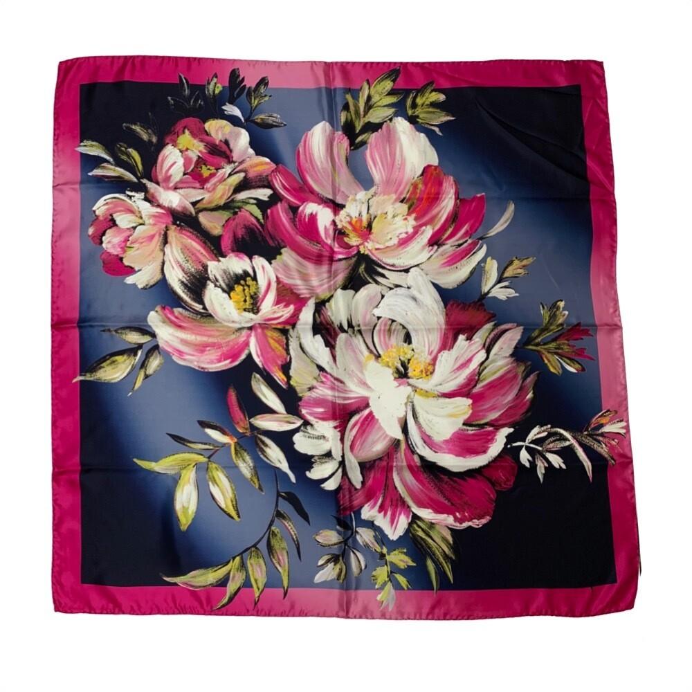 LAURA BIAGIOTTI - Foulard in seta 90x90 stampa floreale - Multi Ciclamino