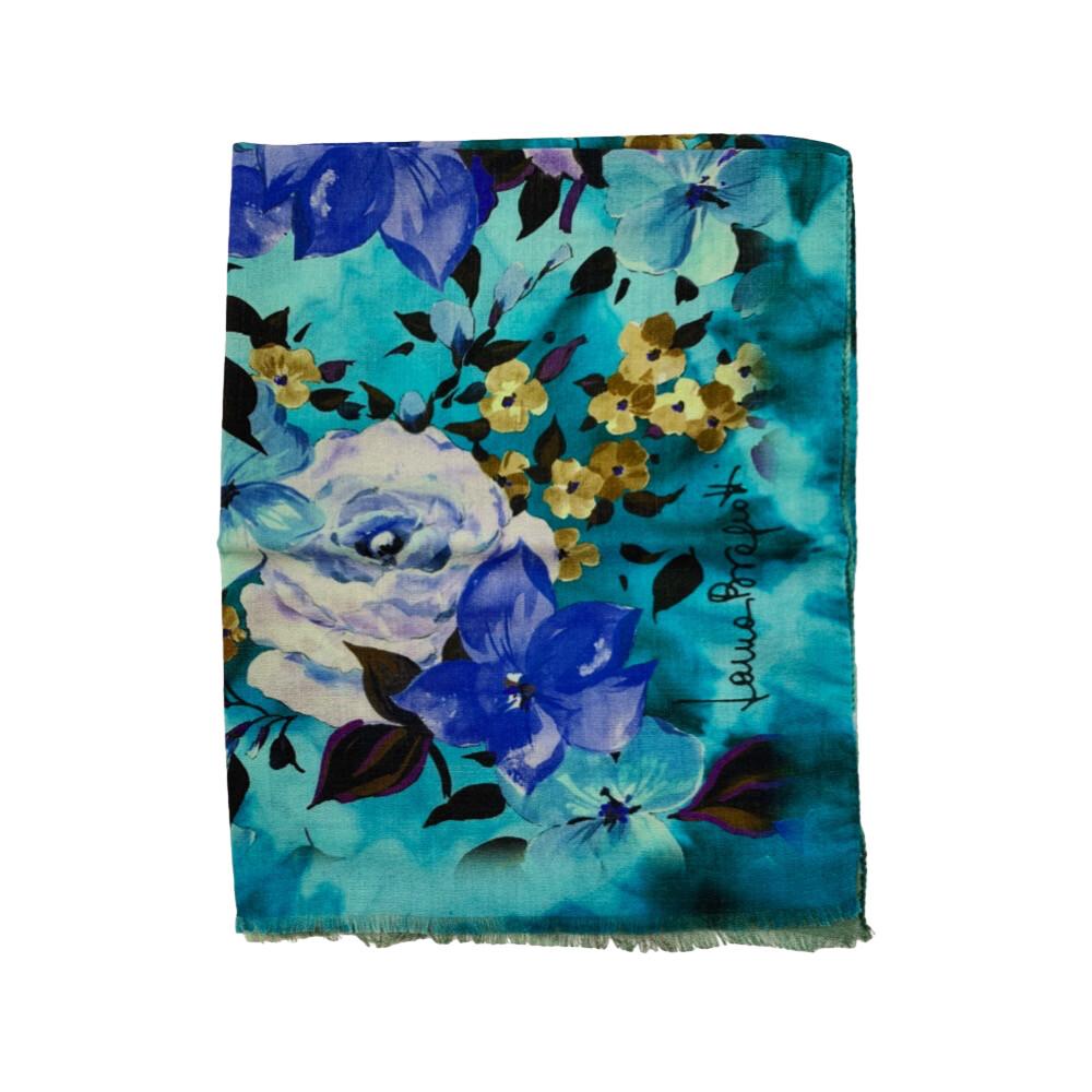 LAURA BIAGIOTTI - Stola 100% Lana stampa fiori - Multi Azzurro