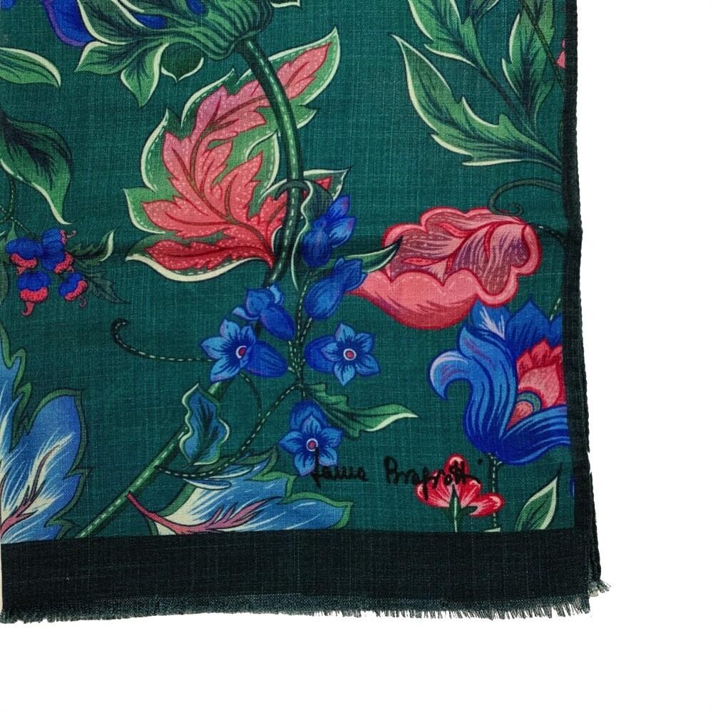 LAURA BIAGIOTTI - Stola 100% Lana stampa fiori - Multi Verde