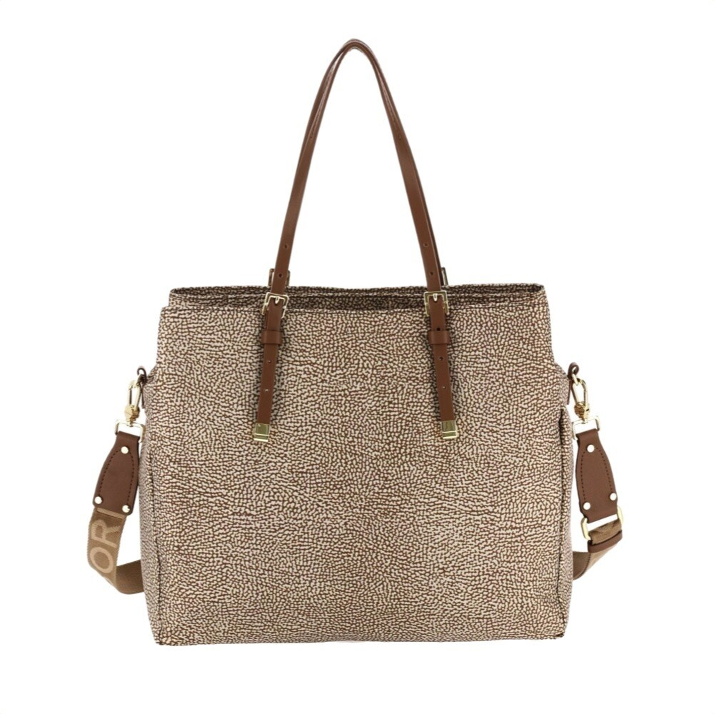 BORBONESE - Shopping Large con tracolla - Beige/Brown