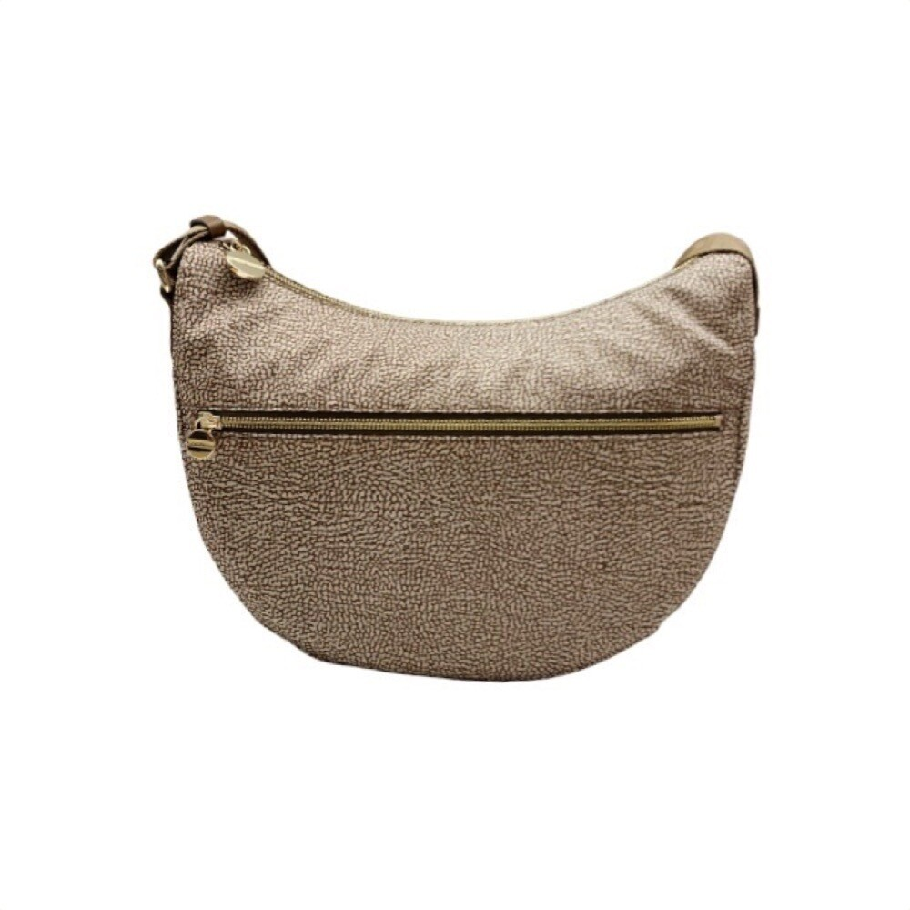 BORBONESE - Luna Bag Middle Nylon Riciclato OP con zip - Beige/Brown