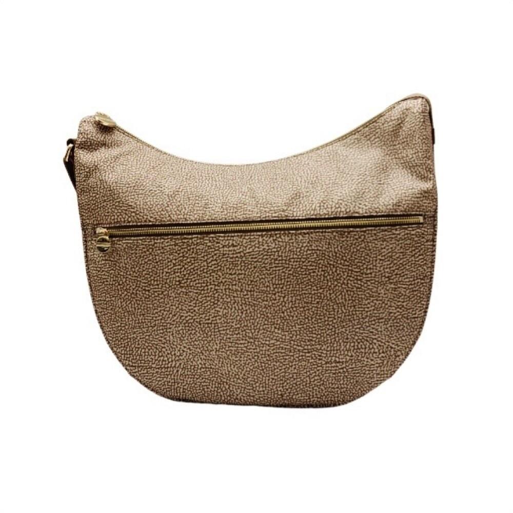 BORBONESE - Luna Bag Medium Nylon Riciclato OP con zip - Beige/Brown