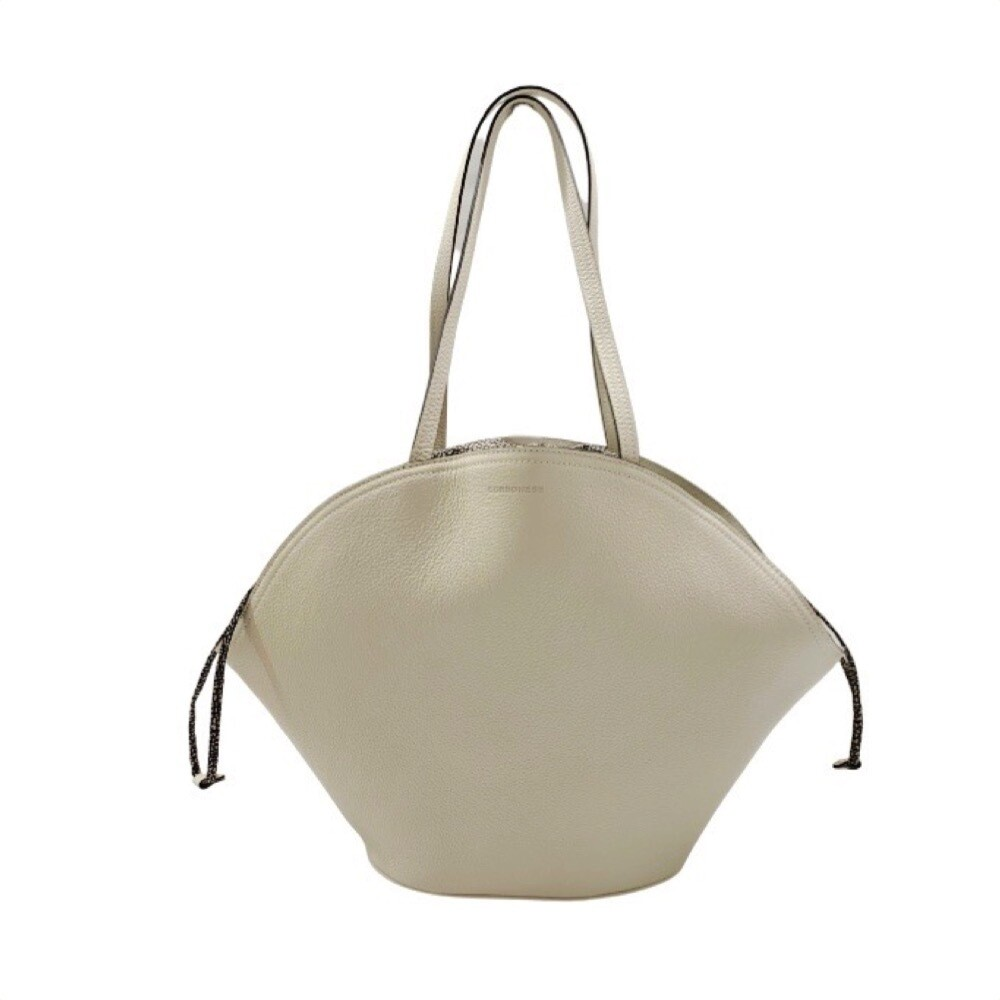 BORBONESE - Muffin borsa shopping Large in pelle e Nylon - Beige/OP Natural