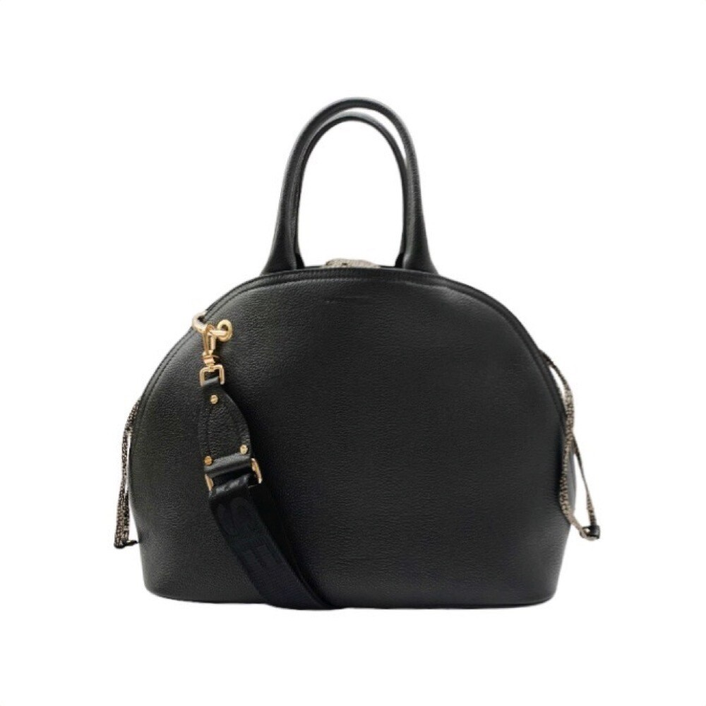 BORBONESE - Muffin borsa a mano Large in pelle e Nylon - Black/OP Natural