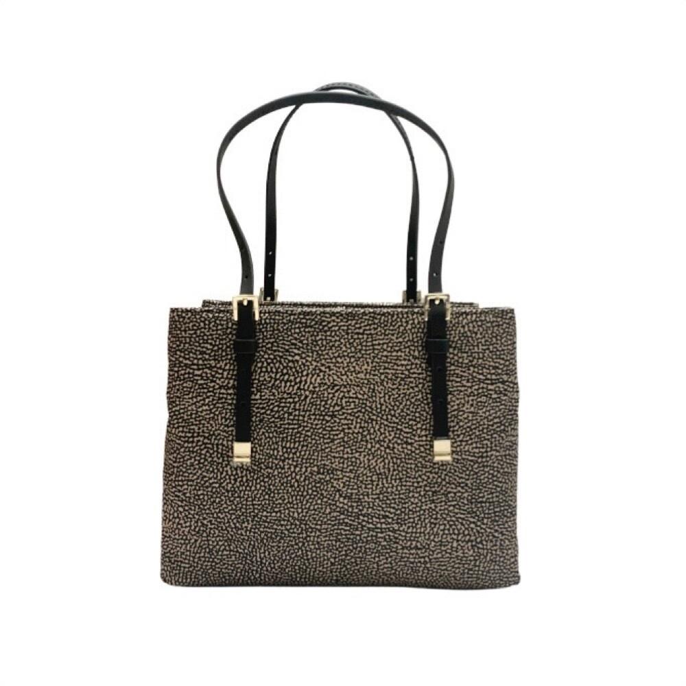 BORBONESE - Shopping Medium con tracolla - OP Natural/Black