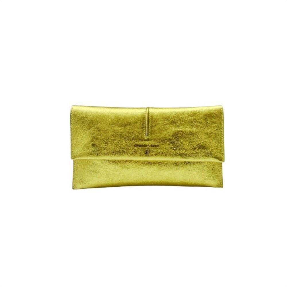 PATRIZIA PEPE - Pochette in pelle laminata con tracolla - Gold