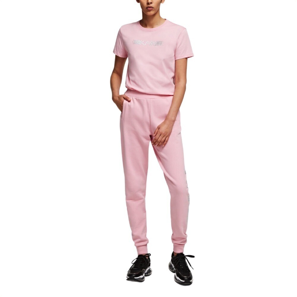 KARL LAGERFELD - Pantaloni sportivi con logo Karl strass - Pink
