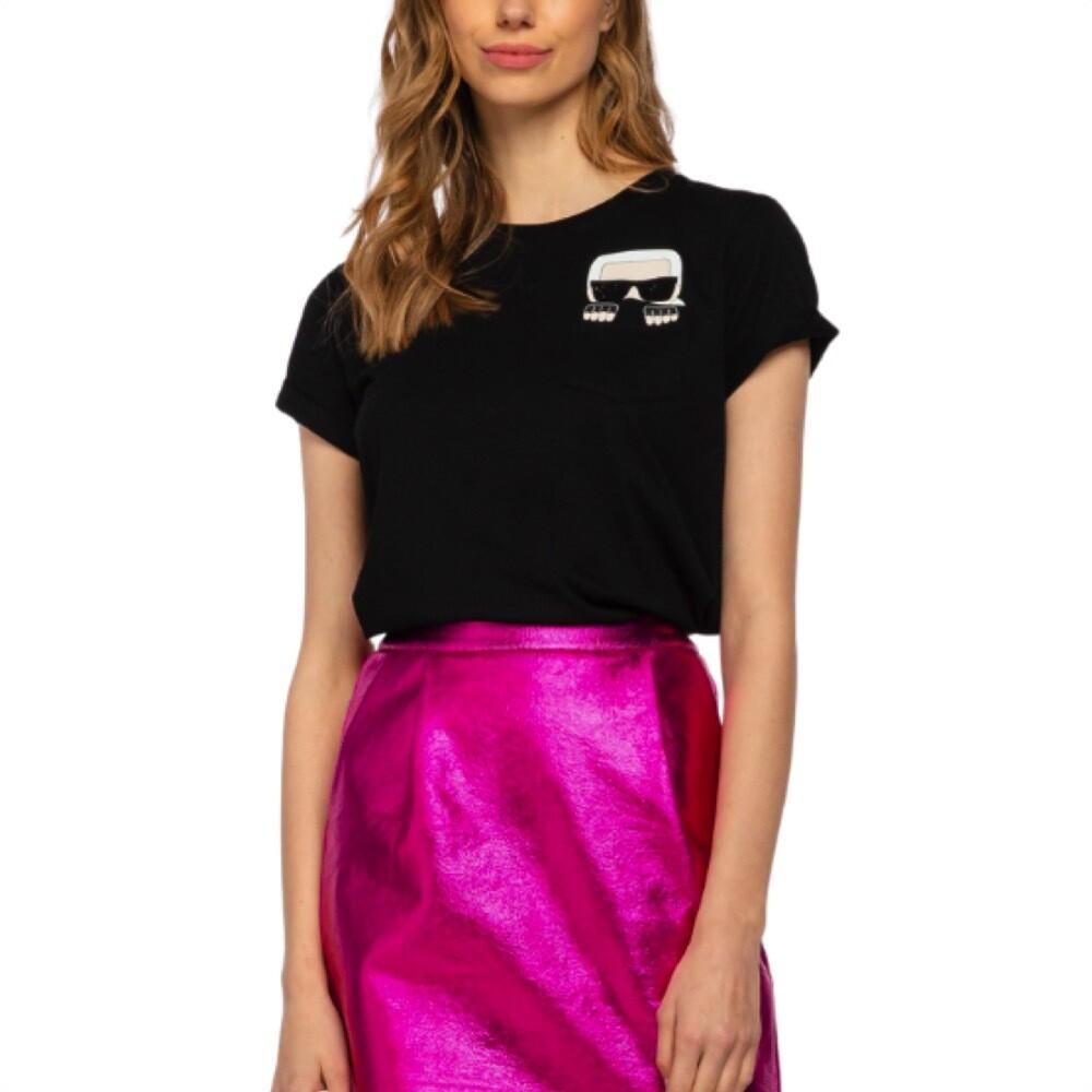 KARL LAGERFELD - T-shirt K/Ikonik con taschino - Black