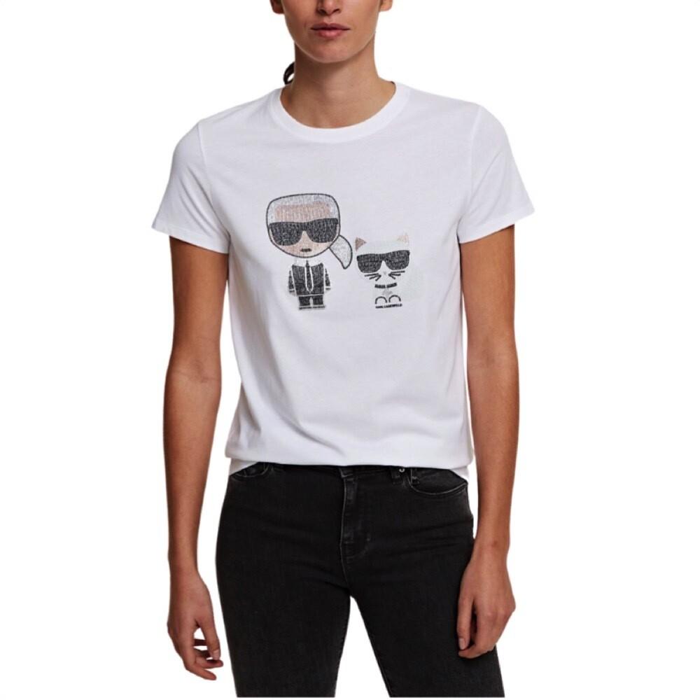 KARL LAGERFELD - T-shirt Ikonik Karl & Choupette Strass - White