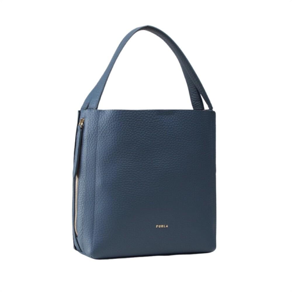FURLA - Grace M Hobo zip laterali - Blu Denim/Talco