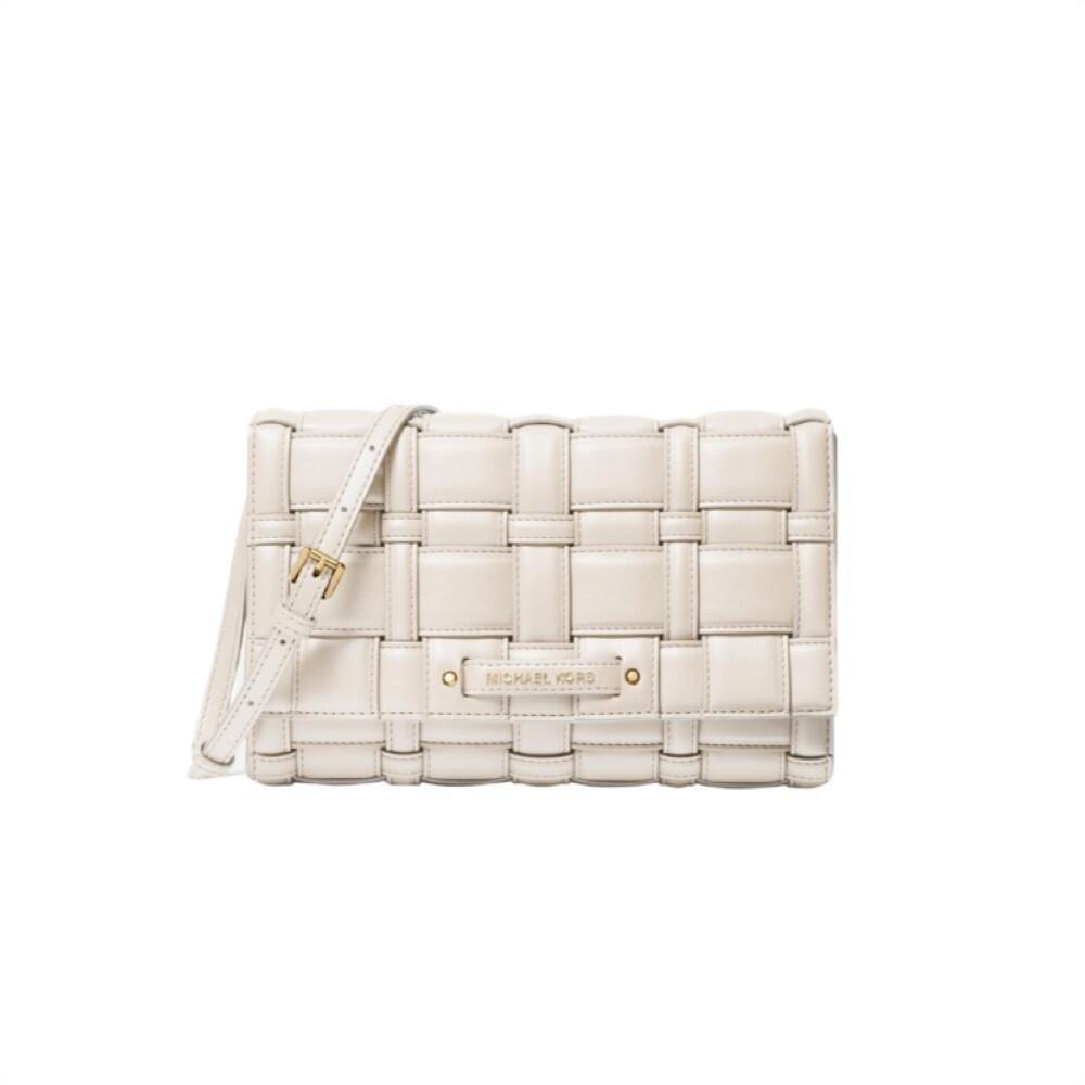 MICHAEL KORS - Ivy Large Woven Crossbody Bag - Light Cream