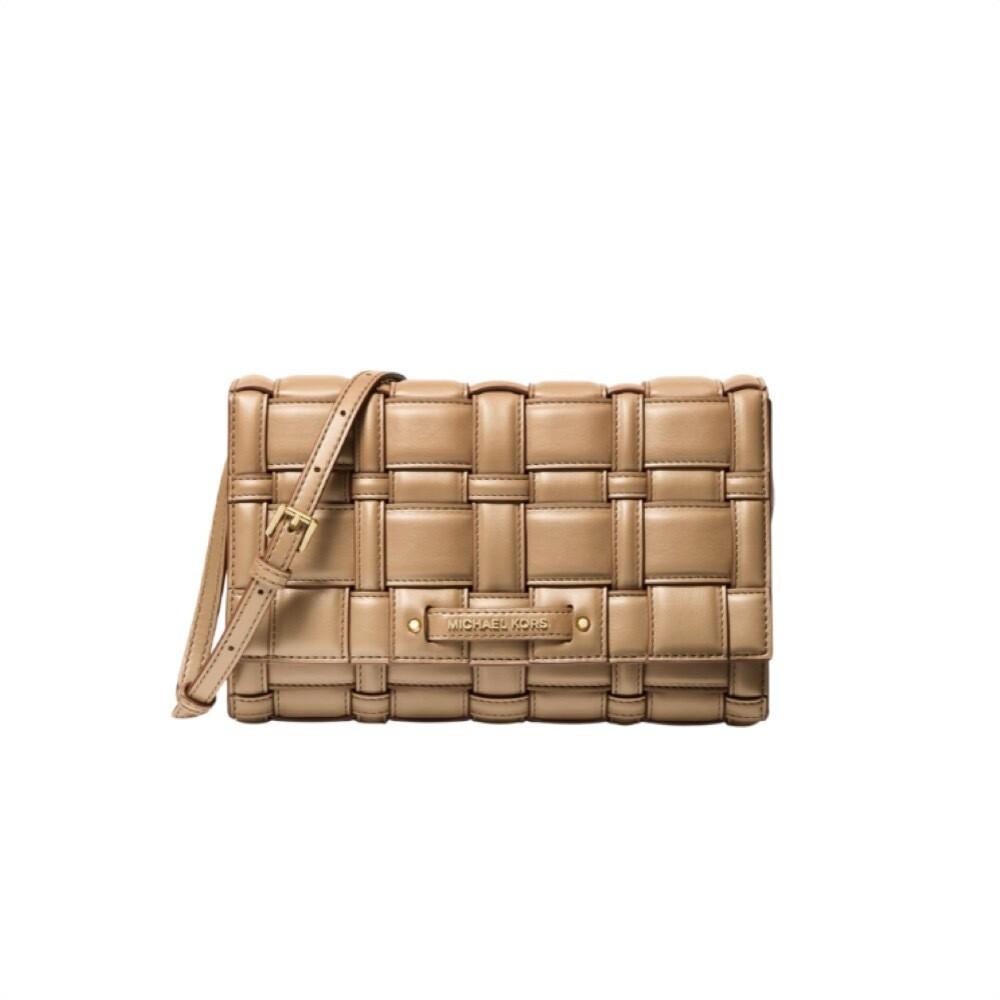 MICHAEL KORS - Ivy Large Woven Crossbody Bag - Camel