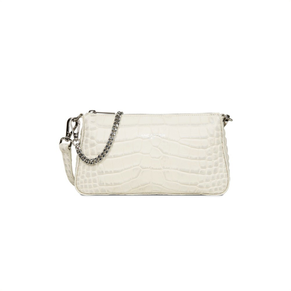 LANCASTER - Exotic Croco Clutch Zip - Beige