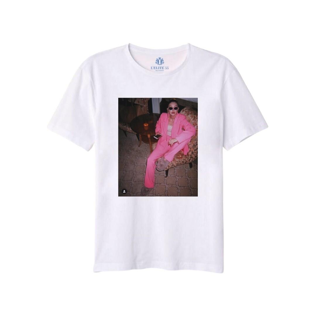 L'ELITÉ 55 - T-shirt stampa Pink - Bianco