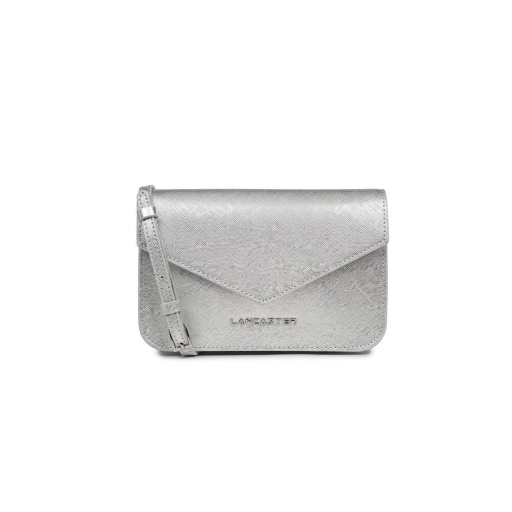 LANCASTER - Saffiano Signature Mini Clutch - Argent