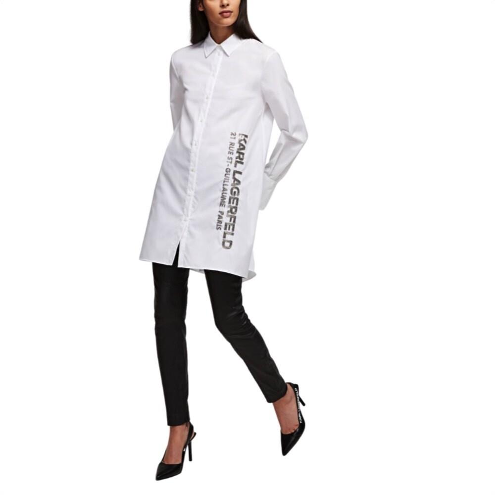 KARL LAGERFELD - Camicia a tunica in popeline - White