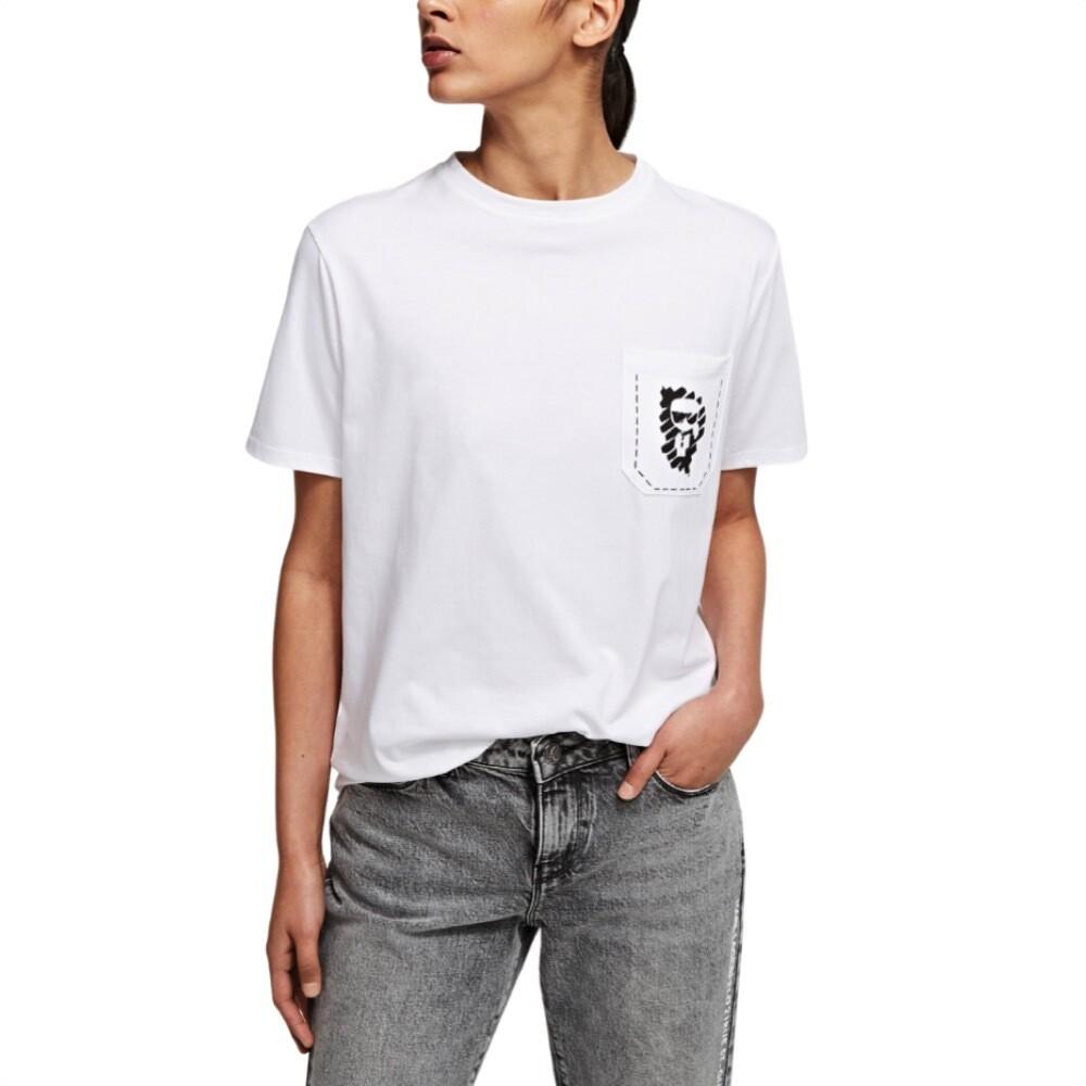 KARL LAGERFELD - T-shirt Ikonik graffiti con tasca - White