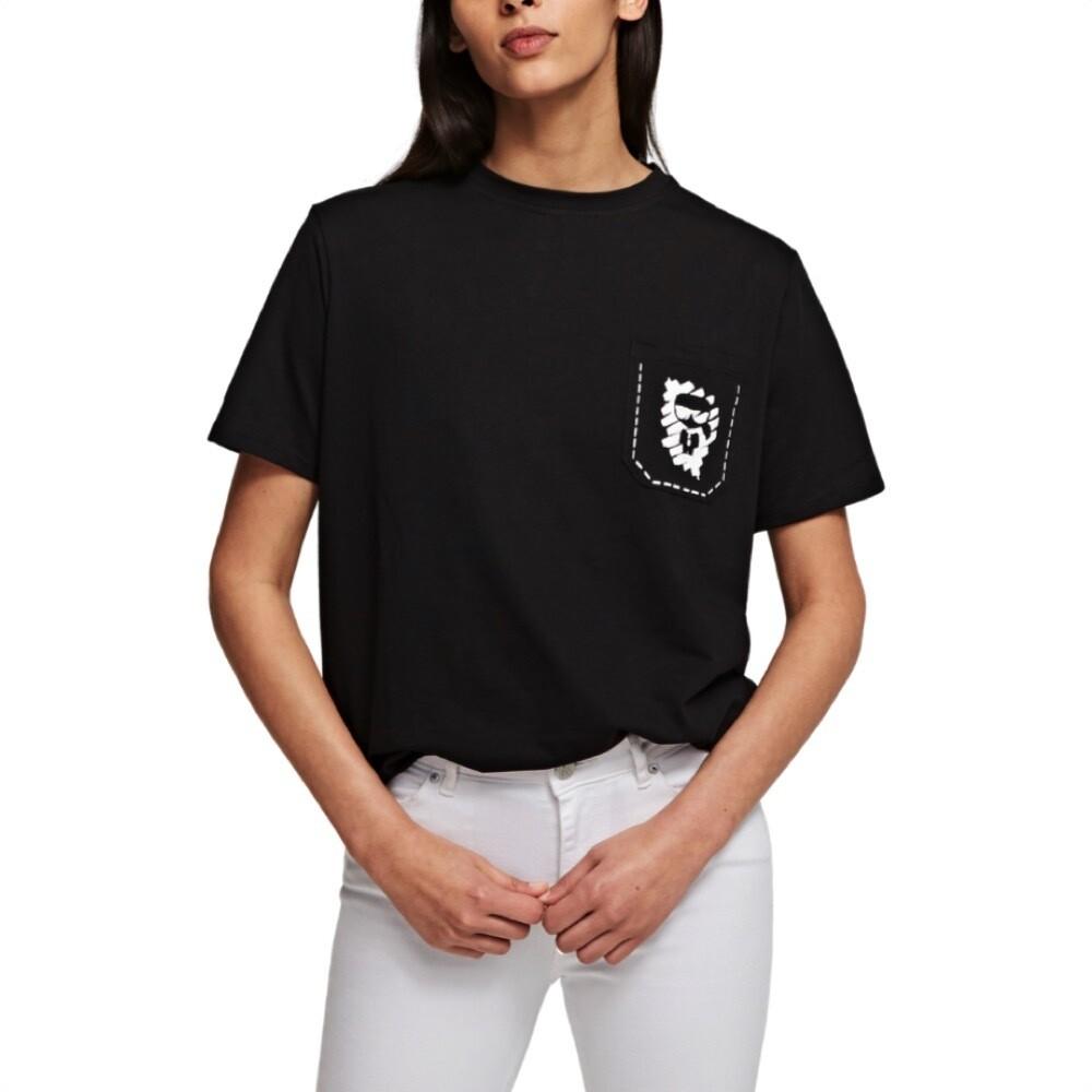 KARL LAGERFELD - T-shirt Ikonik graffiti con tasca - Black