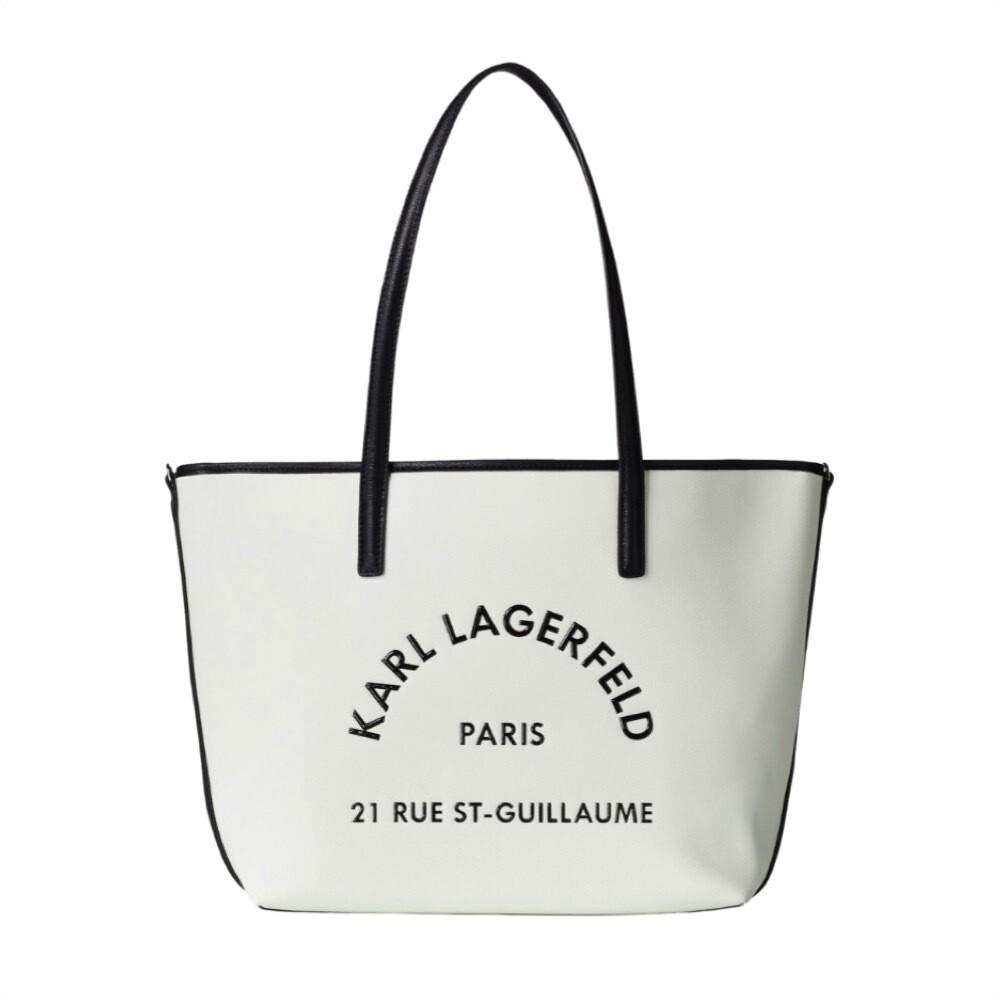 KARL LAGERFELD - Tote in pelle Rue St-Guillaume - White