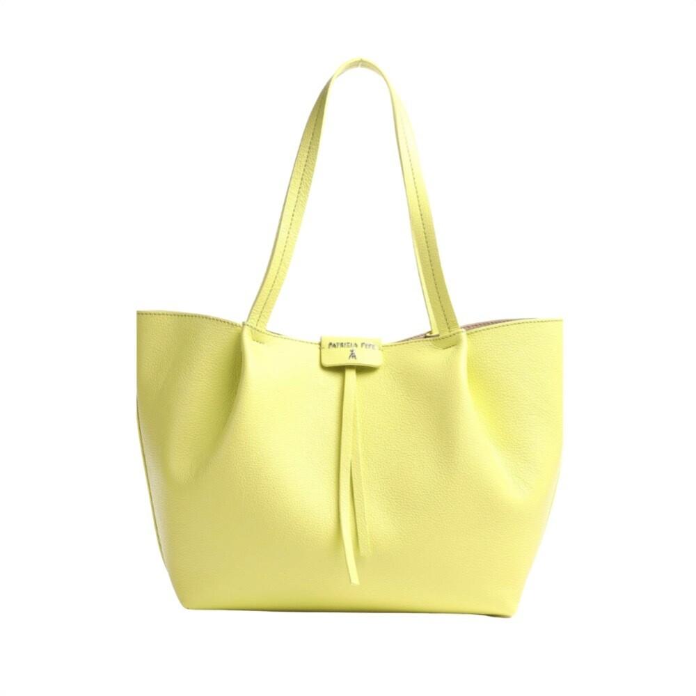 PATRIZIA PEPE - Borsa shopping in pelle - Spring Yellow