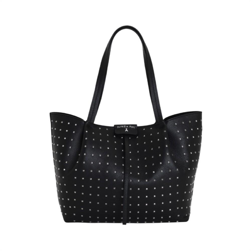 PATRIZIA PEPE - Borsa shopping media con borchiette - Nero