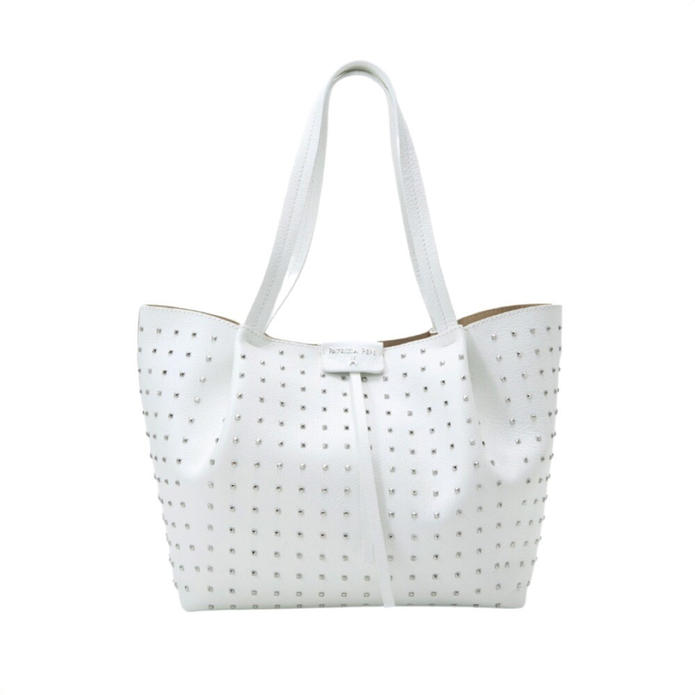 PATRIZIA PEPE - Borsa shopping media con borchiette - Bianco