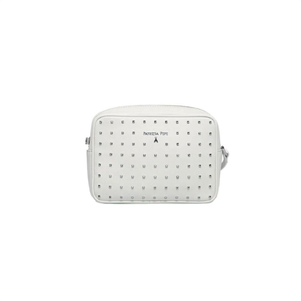 PATRIZIA PEPE - Camera Bag in pelle con borchiette - Bianco