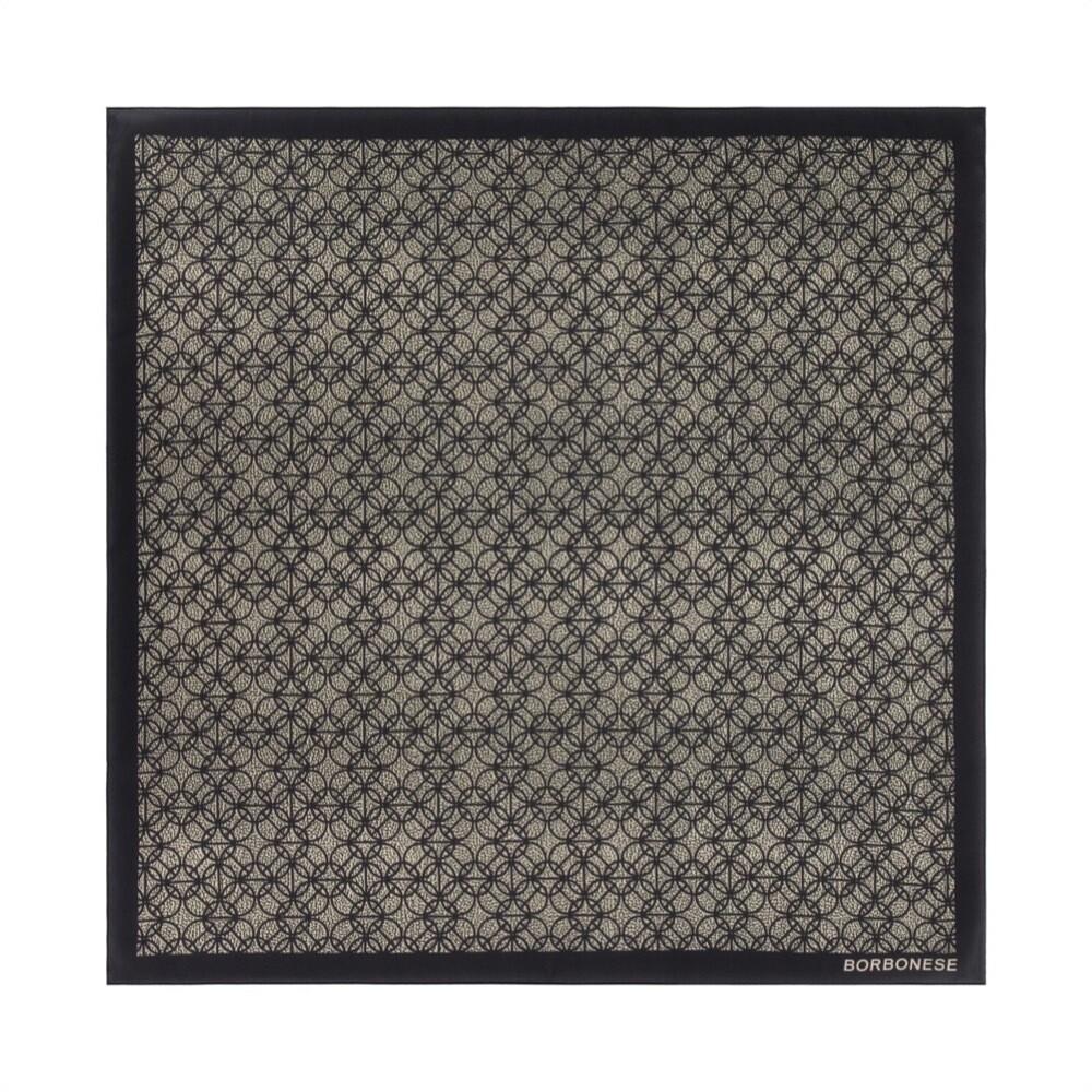 BORBONESE - Foulard Pattern 90x90 - Nero/OpNatural