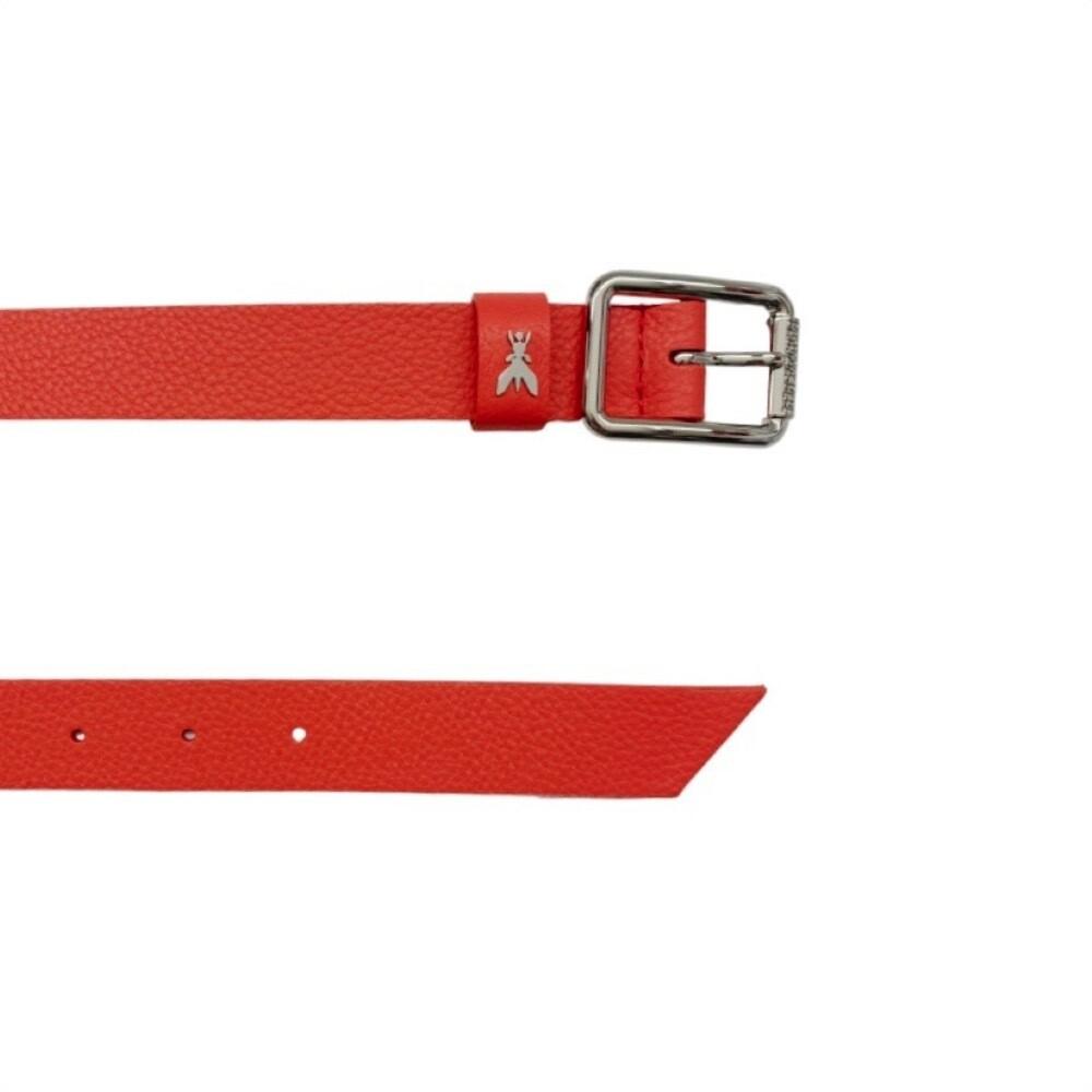 PATRIZIA PEPE - Cintura vita bassa in pelle martellata - Hibiscus Red