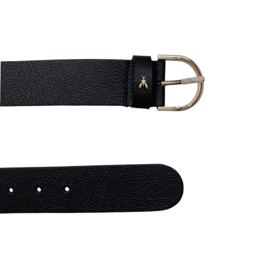 PATRIZIA PEPE - Cintura in pelle martellata - Nero/Gold