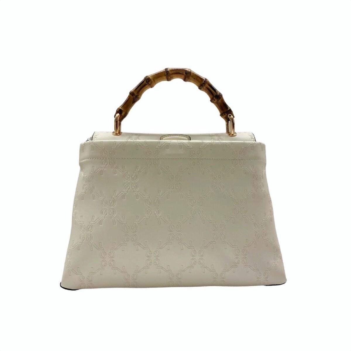 ROBERTA DI CAMERINO - Bamboo Handbag M con tracolla - White