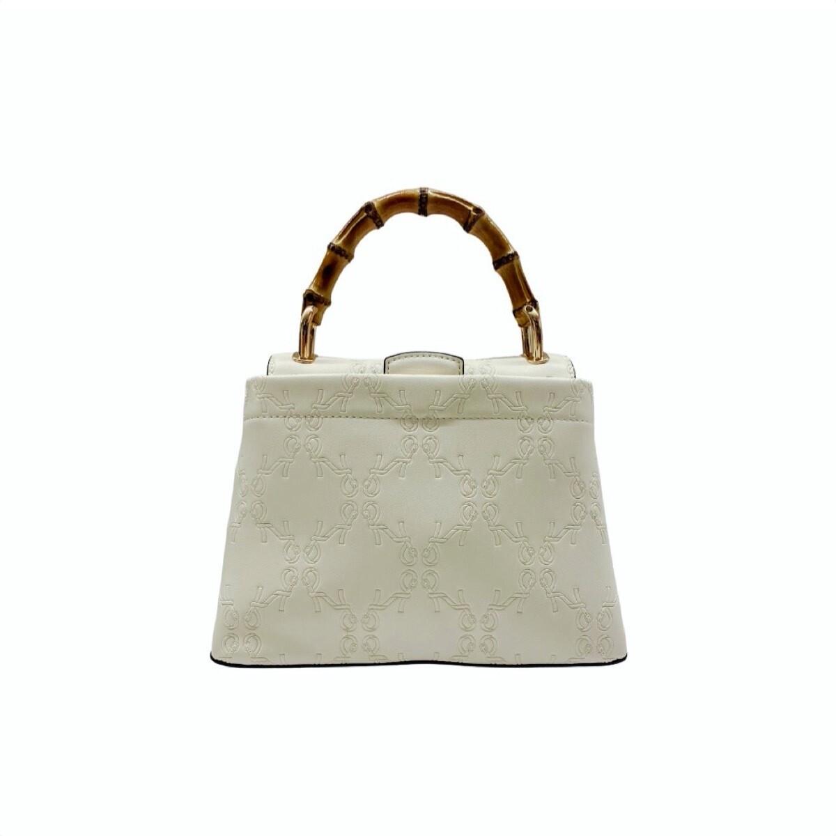ROBERTA DI CAMERINO - Bamboo Handbag S con tracolla - White