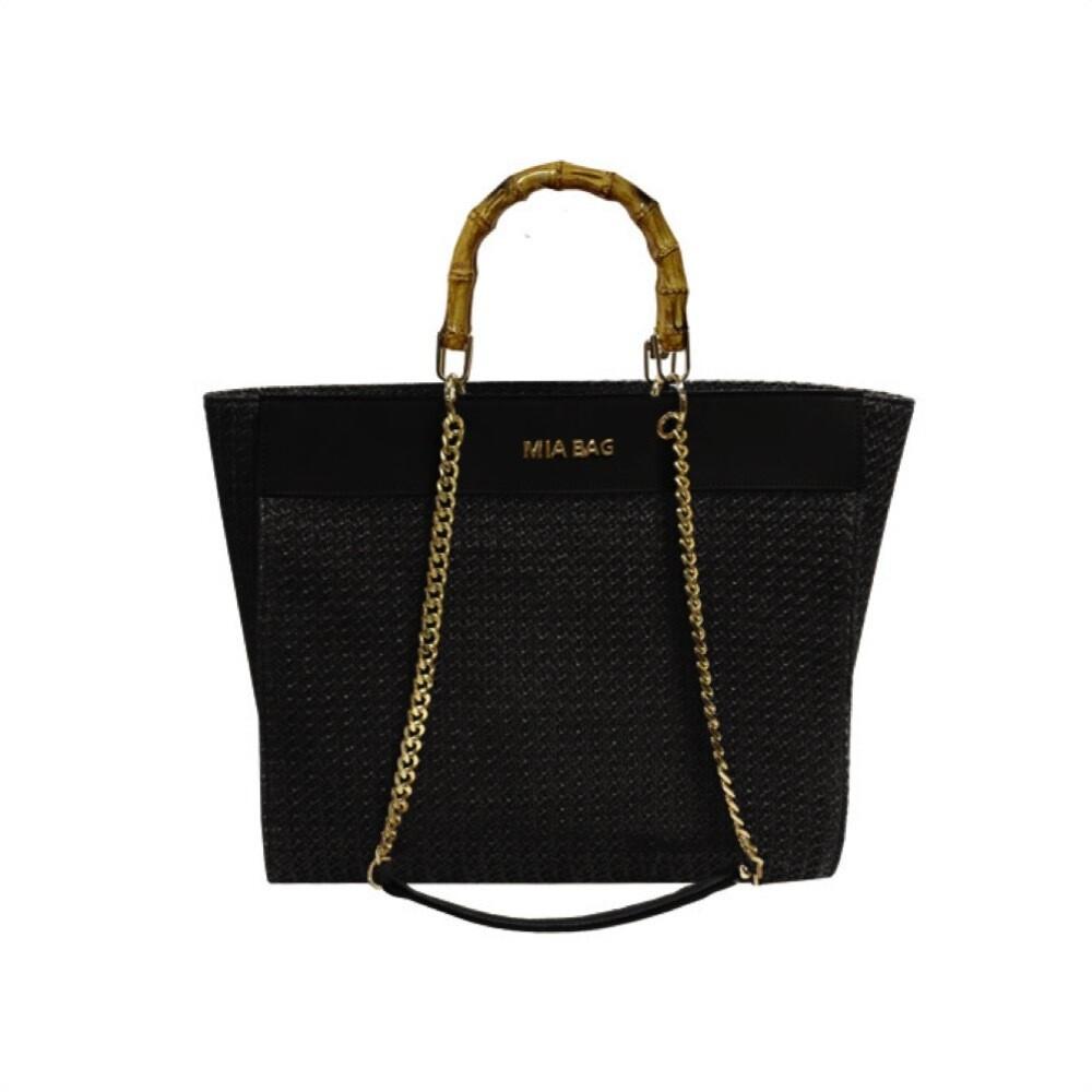 MIA BAG - Tote Bag Rafia Personalizzabile - Nero