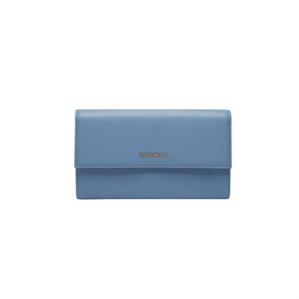 COCCINELLE - Metallic Soft Portafoglio Maxi - Pacific Blue