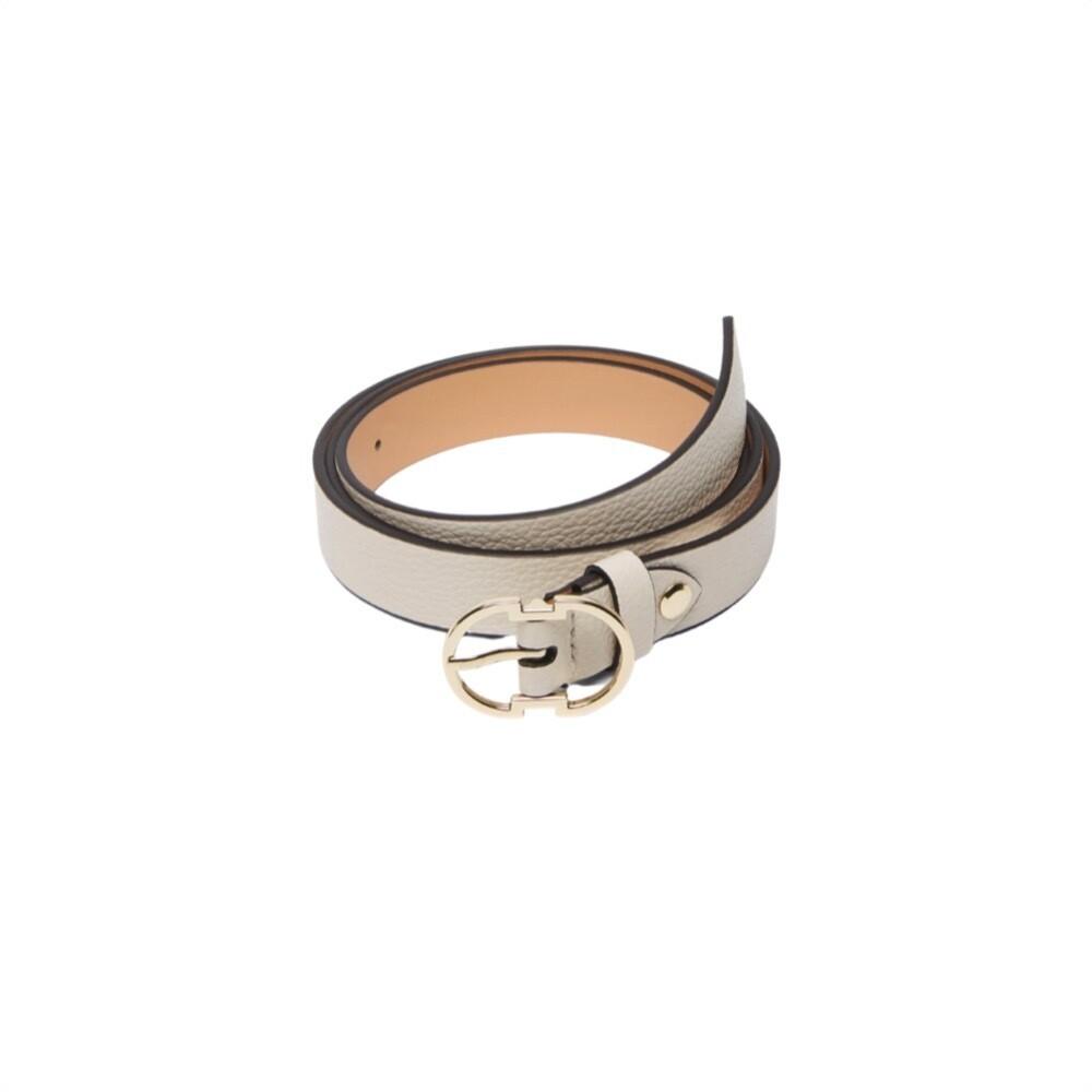 COCCINELLE - Cintura Double C in pelle - Lambskin White