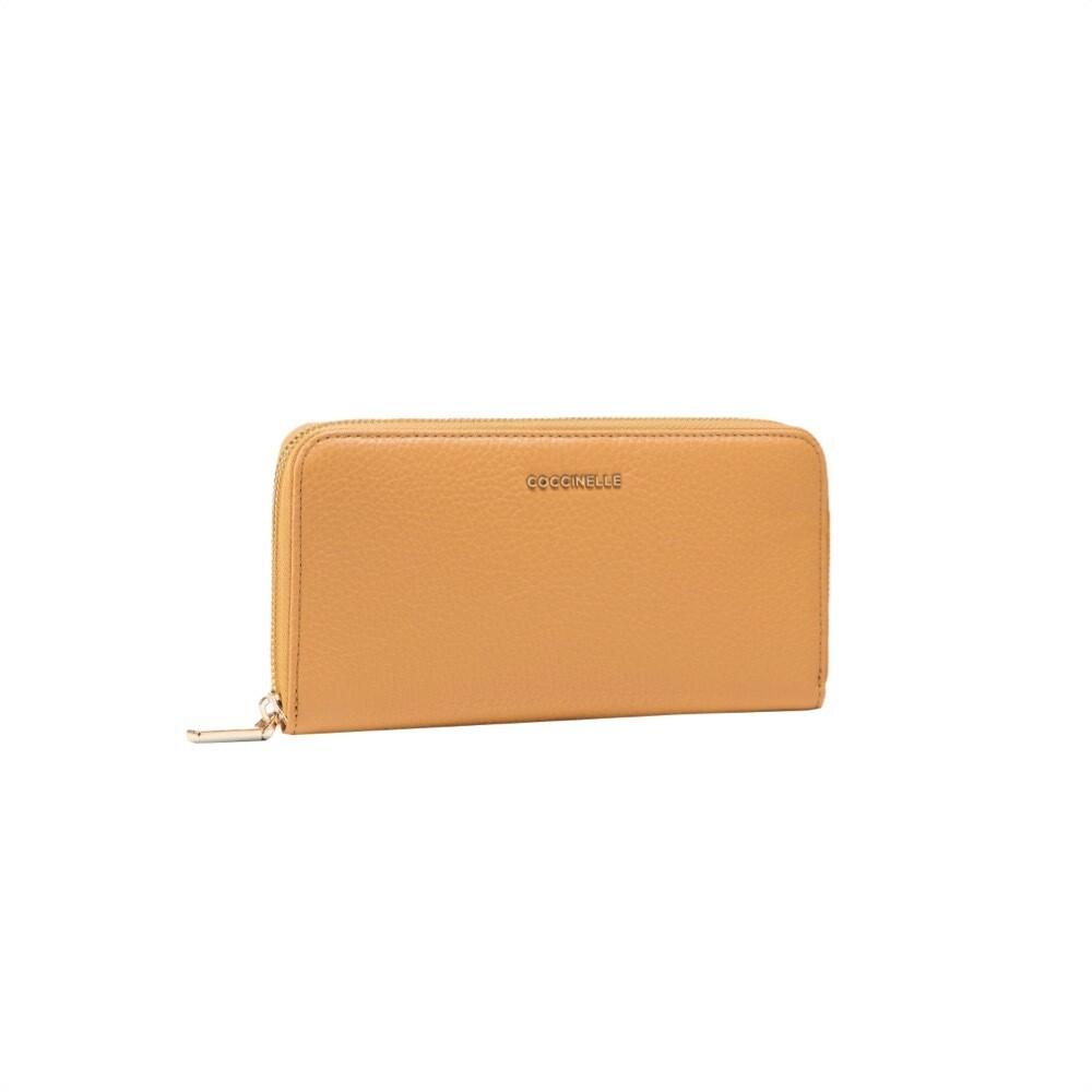 COCCINELLE - Metallic Soft Portafoglio Grande Zip Around - Warm Beige