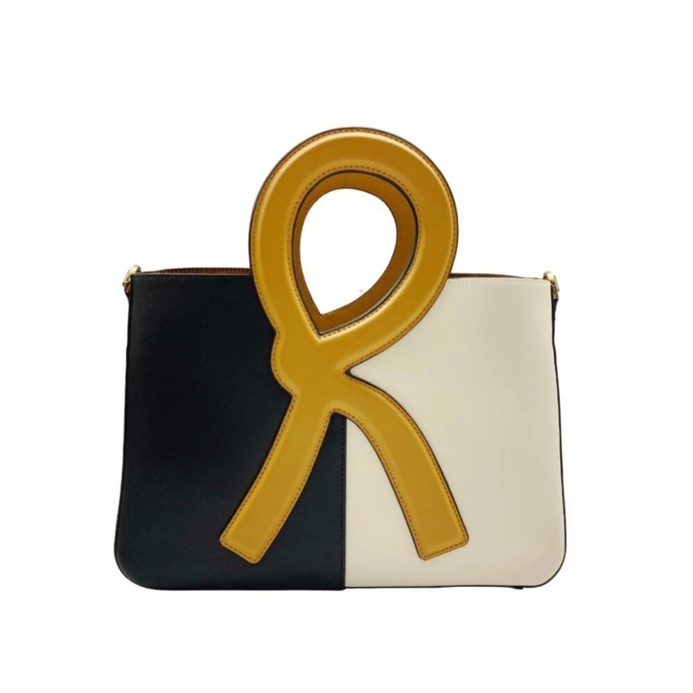 ROBERTA DI CAMERINO - R Handle Shopping M con tracolla - White/Beige/Black