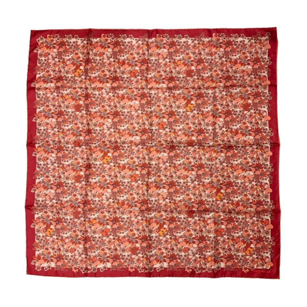 COCCINELLE - Flower Field Foulard 90x90 - Multi Coral Red
