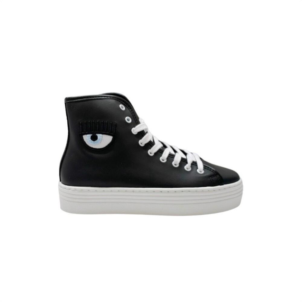 CHIARA FERRAGNI - Eyeheart Sneakers High Leather - Black