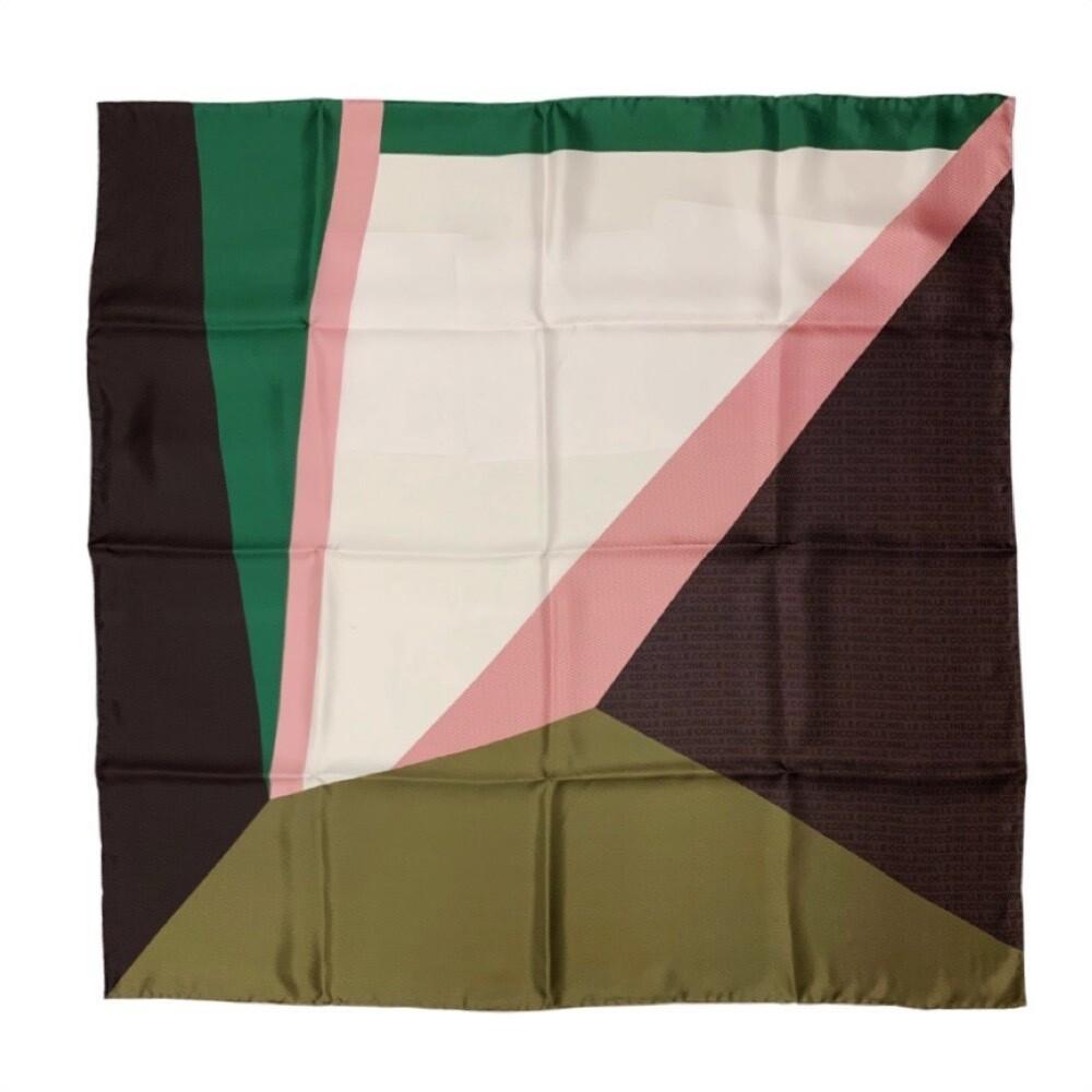 COCCINELLE - Color Block Foulard 90x90 - Multi Moss Green
